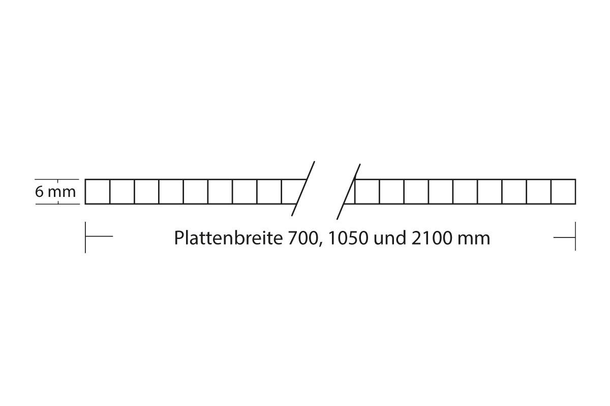 6 mm Stegplatte Struktur Abmessungen Zeichnung
