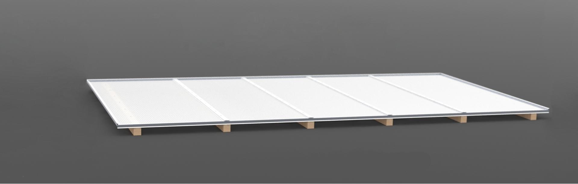 Dachhaut Stegplatten 5400 mm Breite aus 16 mm Fachwerk Stegplatte als komplett Set