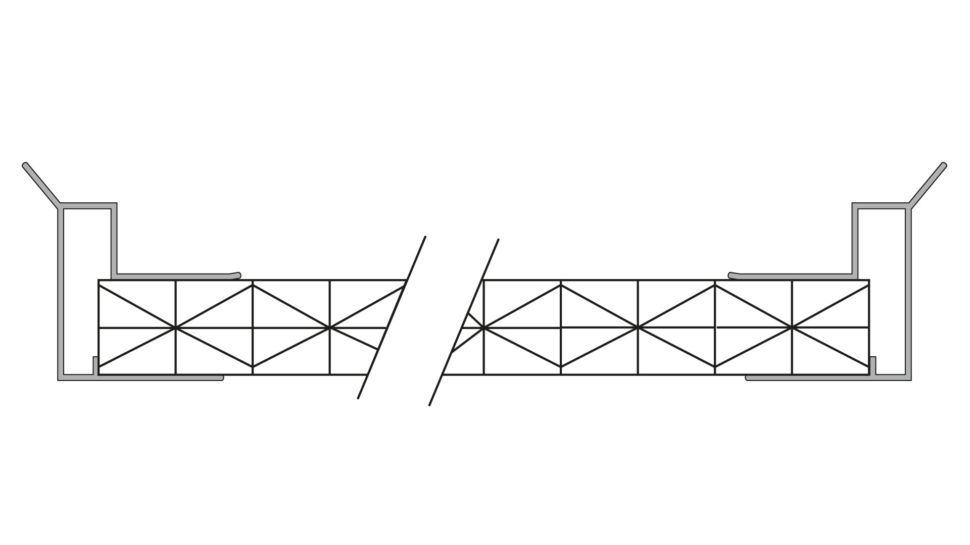 Alu Abschlussprofil mit Stegplatte 16 mm Fachwerk