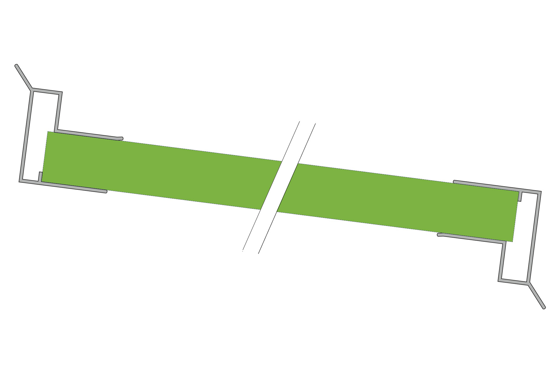 Alu Abschlussprofil mit Stegplatten im Wasserlauf Montage