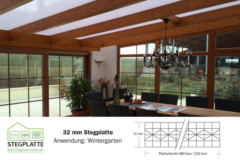 Wintergarten preiswert selber bauen mit Stegplatten 32 mm